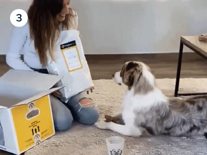 baasje met zak hondenvoeding van buddybites en haar australische herder