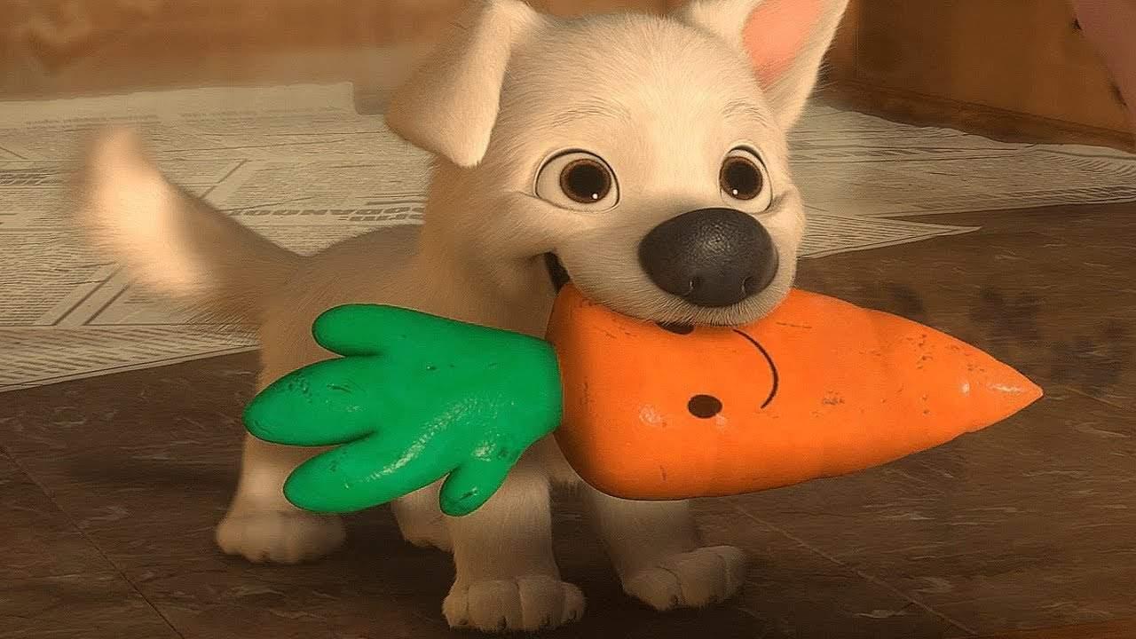 Hoofdpersonage van hondenfilm Bolt met wortel in zijn bek.