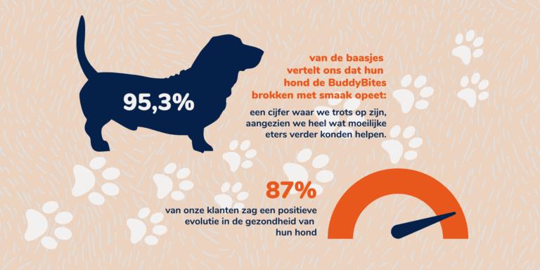 de hondenvoeding van buddybites bevat geen kunstmatige toevoegsels, enkel verse ingrediënten: veel vlees en hoogwaardige eiwitten, gezonde vetten, vitaminen en mineralen.