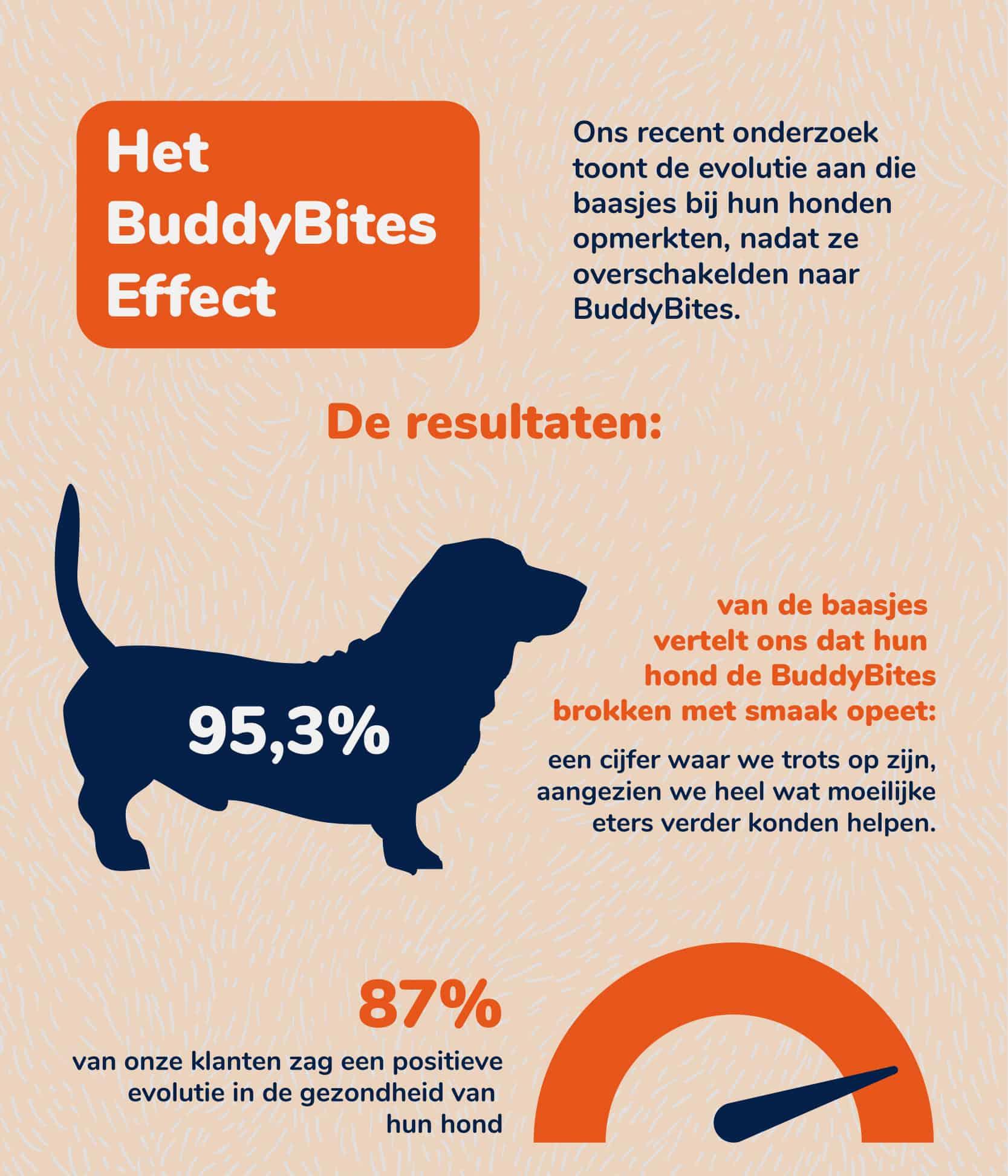 wat is het effect van buddybites hondenvoeding op mijn hond